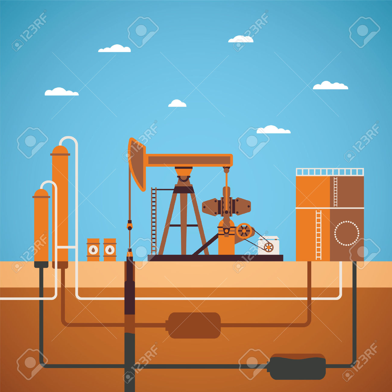 Vector Concept Of Equipped Oil Well With Pipes Network Tank And.