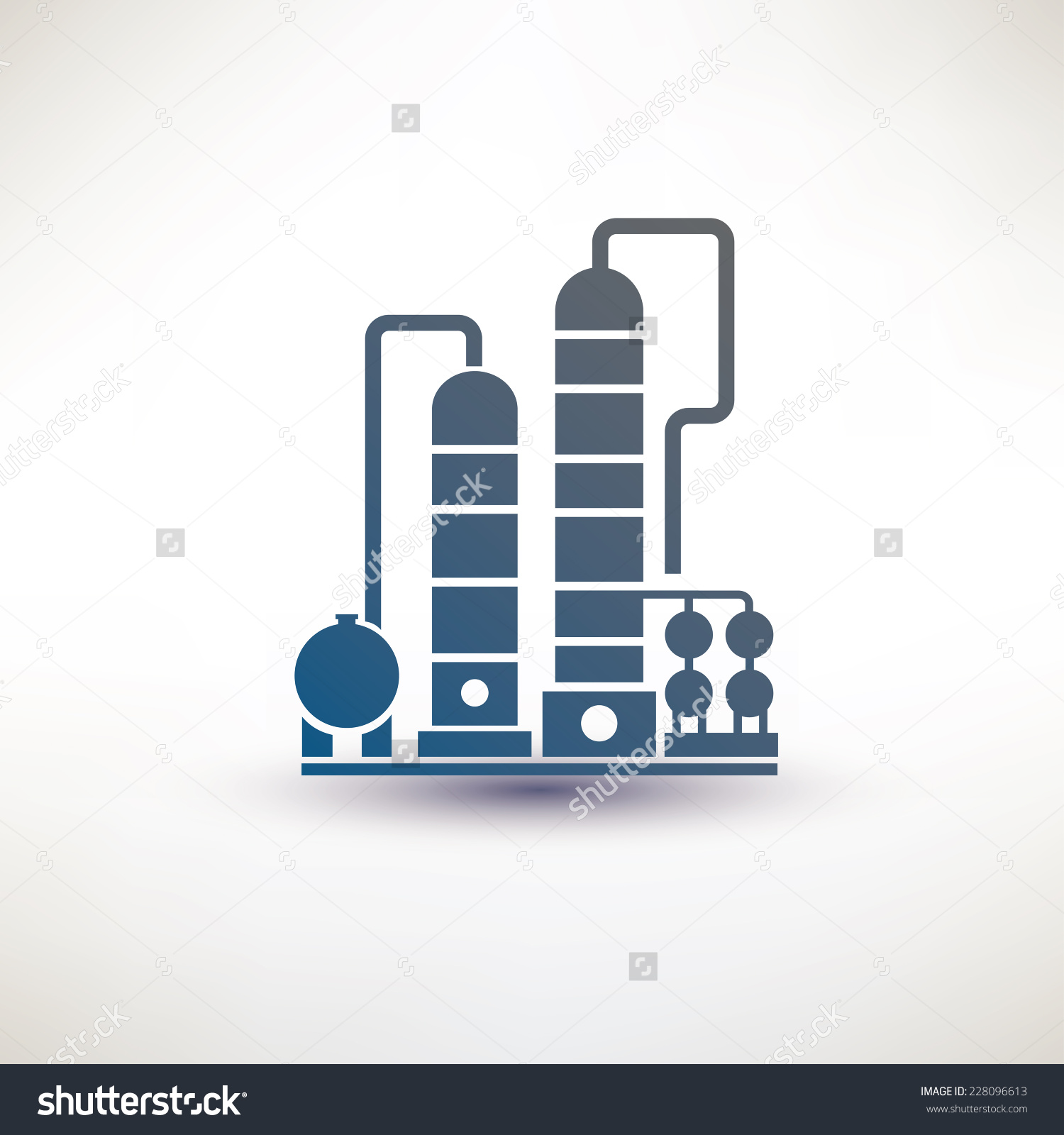 Petrochemical Plant Symbol Refinery Oil Distillation Stock Vector.