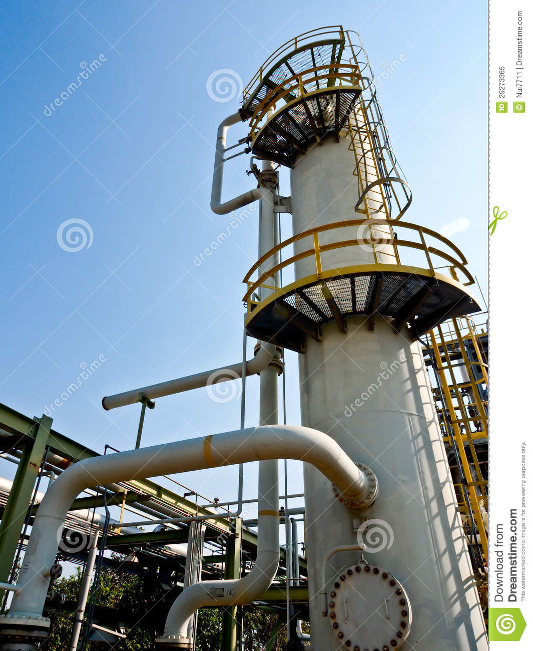 Distillation Column With Blue Sky Royalty Free Stock Photo.