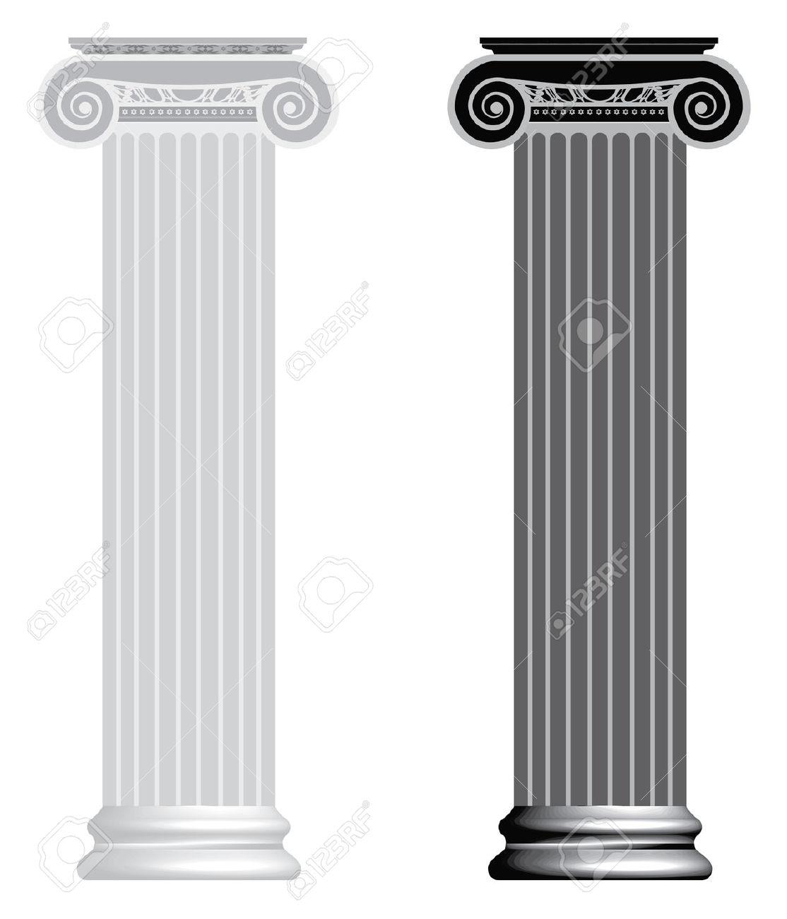 Columna Iónico Aislado En Fondo Blanco Ilustraciones Vectoriales.