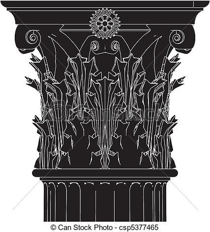 Clipart vectorial de columna, griego, corintio.