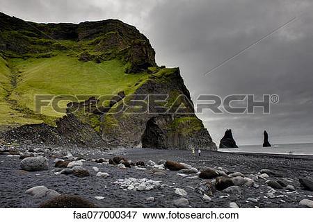 Picture of Columnar basalt cave and black sand, Vik Beach, Vik.