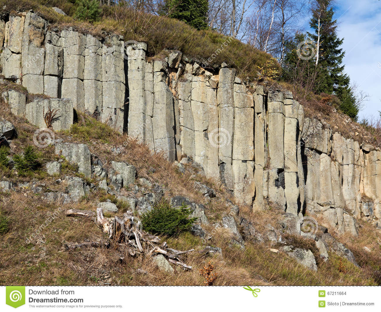 Columnar Basalt Formation In The Mountains Stock Photo.