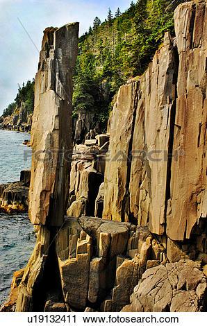 Stock Photography of Balancing Rock, Bay of Fundy, Nova Scotia.