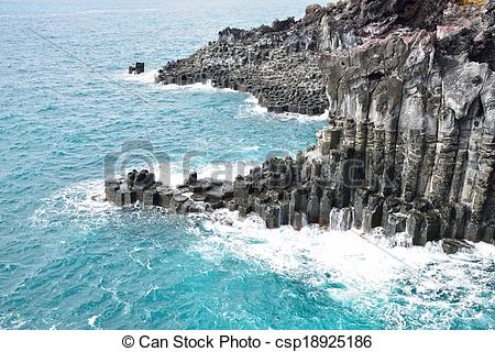 Pictures of basaltic columnar joint coast in JungMun in Jeju.