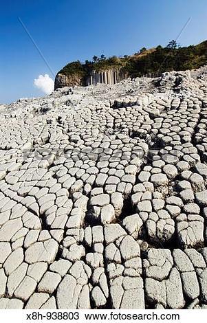 Stock Photo of Columnar basalt volcanic rock formations at.