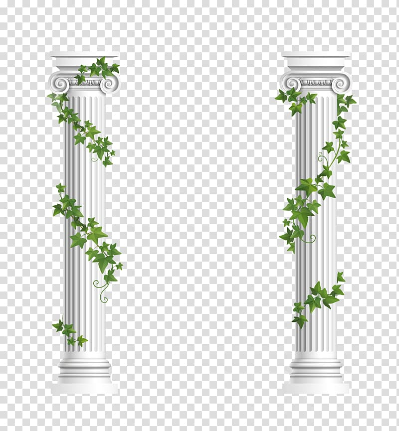 Two white pillars, Column Ionic order Euclidean , Decorative columns.