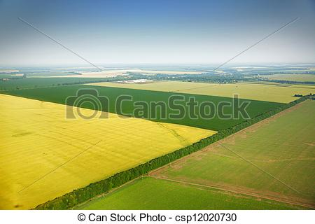 Stock Photos of Aerial view of colza fields near the village.