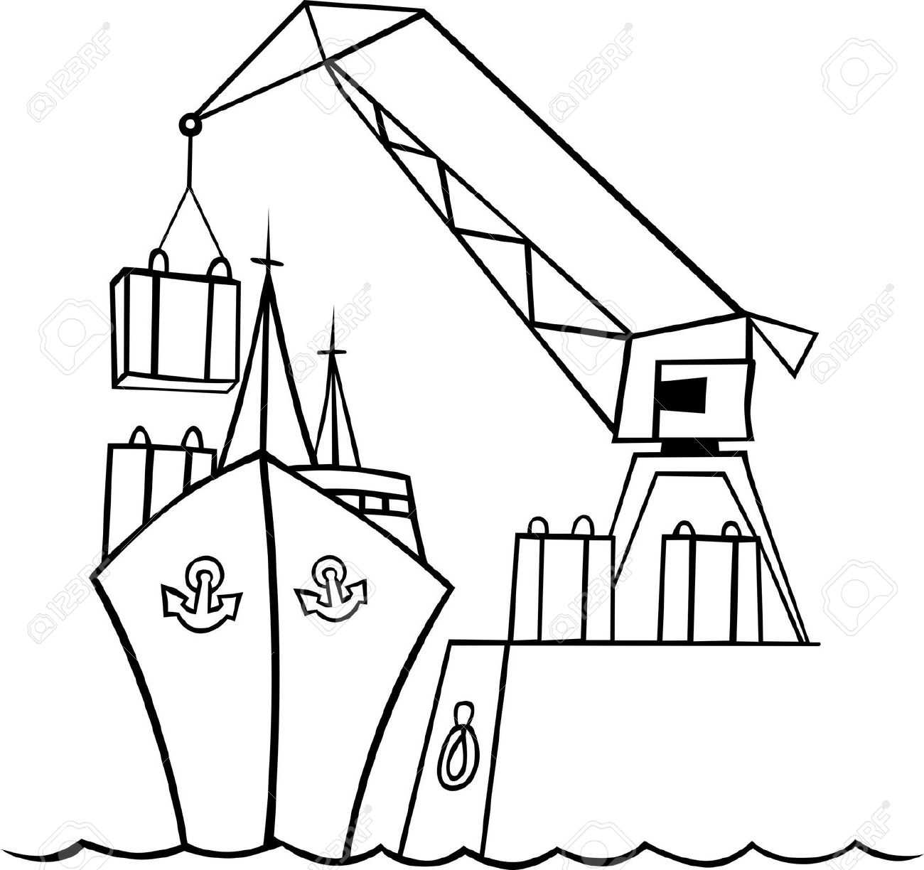 Ship Under Embarcation At The Port Royalty Free Cliparts, Vectors.