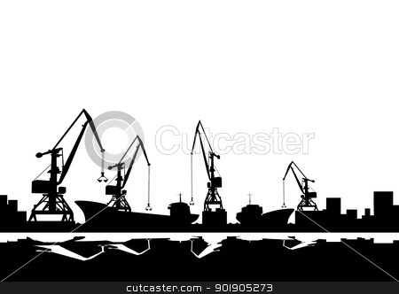 Port cranes and ships.