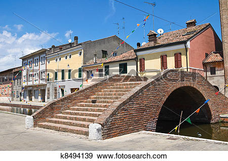 Stock Photograph of Carmine bridge. Comacchio. Emilia.