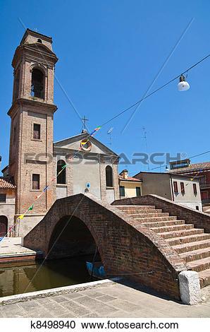 Stock Photography of Carmine bridge. Comacchio. Emilia.
