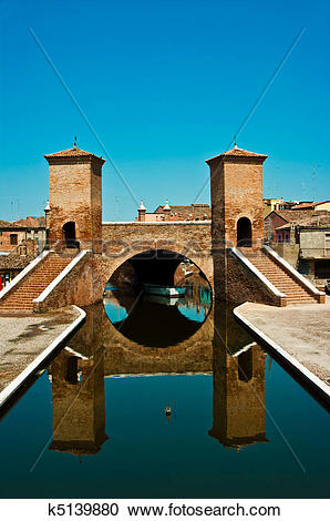 Stock Photography of Comacchio (Italia) : Ponte dei tre ponti.