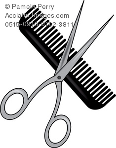 Scissors and Comb Clipart.