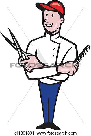 Clipart of Barber Comb and Scissors Cartoon k11801891.