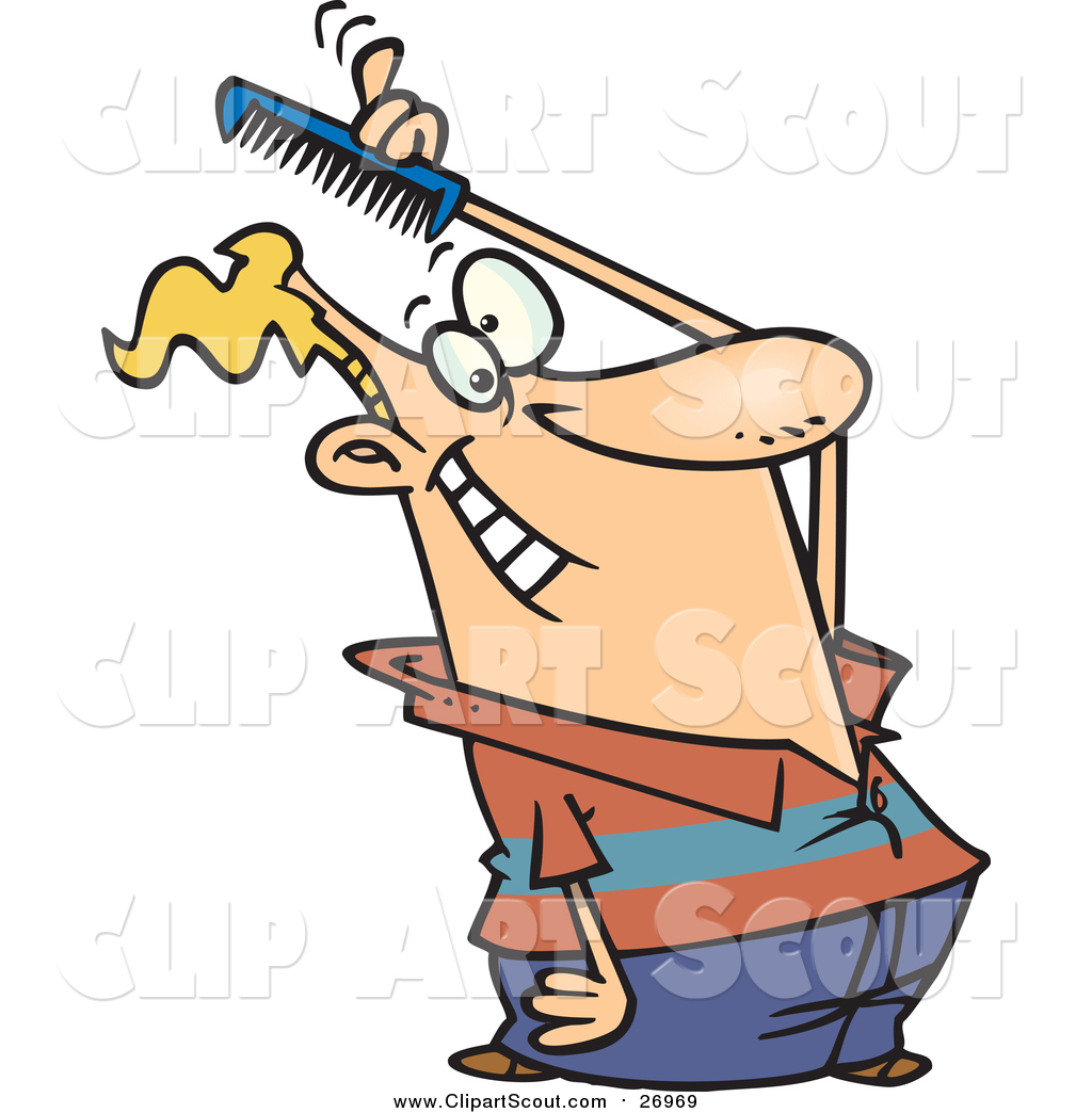 Clipart of a Cartoon Blond White Man Combing His Hair by toonaday.