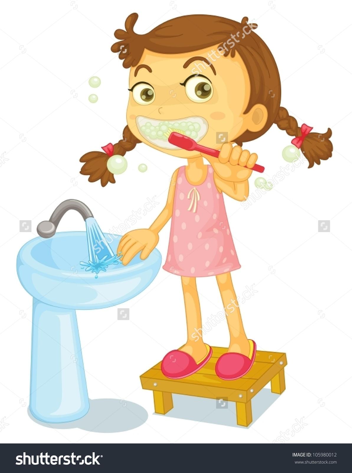 Illustration Girl Brushing Teeth On White Stock Vector 105980012.