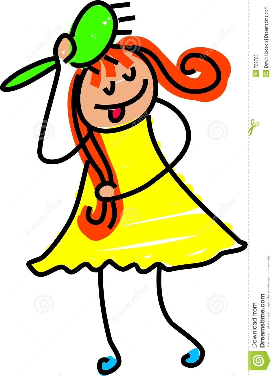 Girl brushing her hair clipart.
