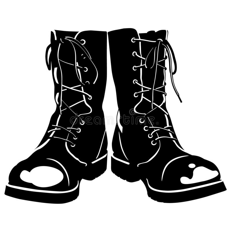 Combat Boots Stock Illustrations.