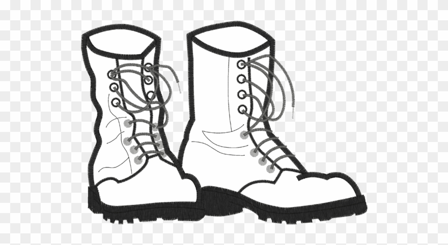 Vignette Drawing Firefighter Boot.