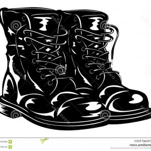 Military Boot Typical Simplistic Army Boot Icon Vector Clipart.