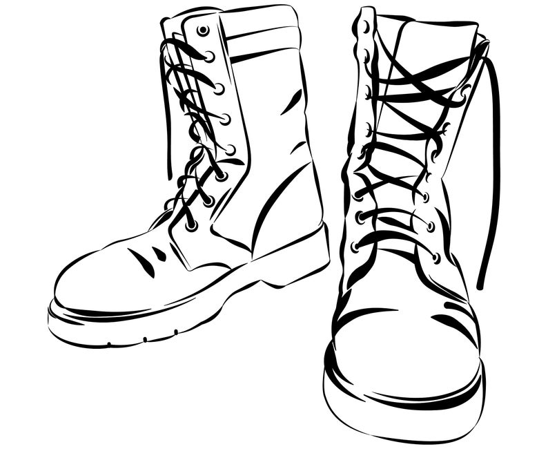 Combat boots, Combat, Boots, Army, Military, Lace up  boots,Patriotic,Design,Silhouette,SVG,Graphics,Illustration,Vector,Logo,Digital,Clipart.