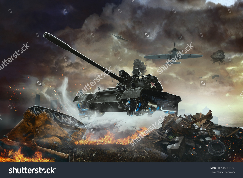 Flying Tank Future Flying Combat Vehicle Stock Illustration.