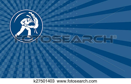 Drawing of Business card Judo Combatants Throw Circle Icon.