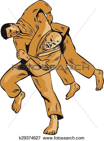 Clip Art of Judo Combatants Throw Front Etching k29374627.