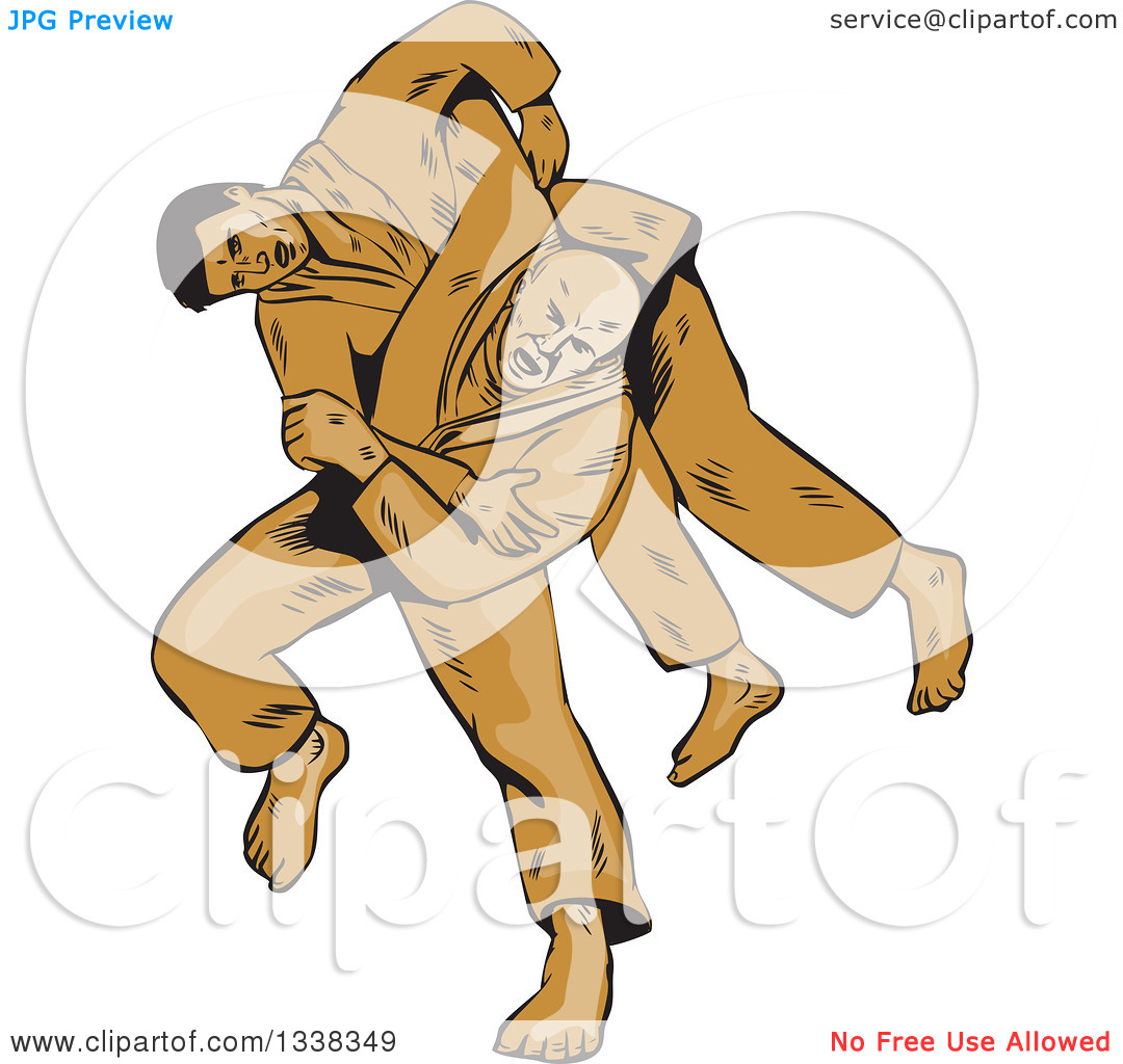 Clipart of a Sketched or Engraved Judo Judoka Combatant Throwing.