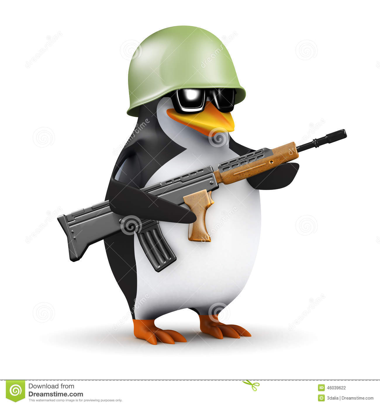 3d Penguin Is Ready For Combat Stock Illustration.