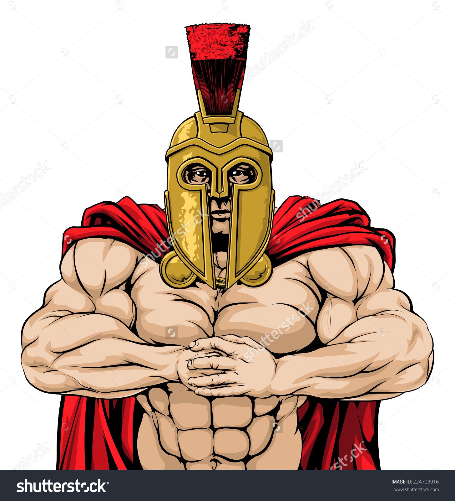 Mean Looking Spartan Man Ready Combat Stock Vector 224703016.