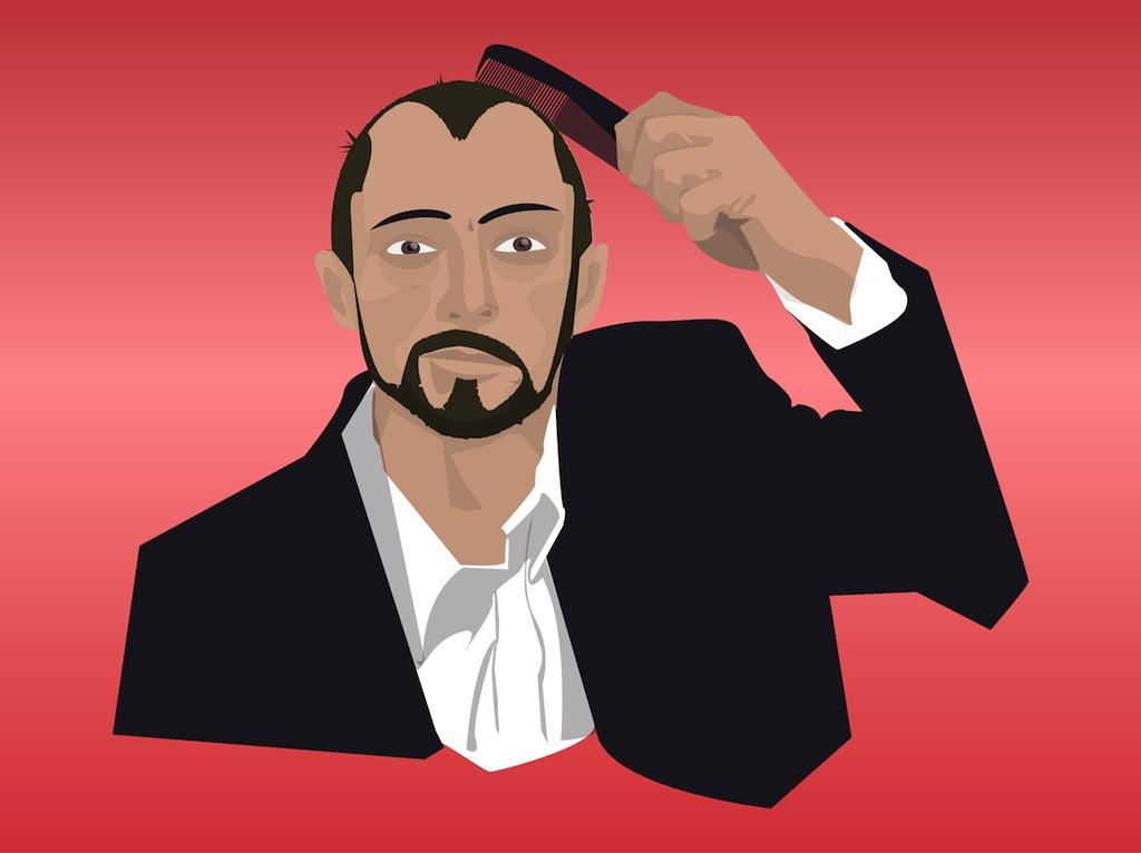 Man Combing Hair Vector Art & Graphics.