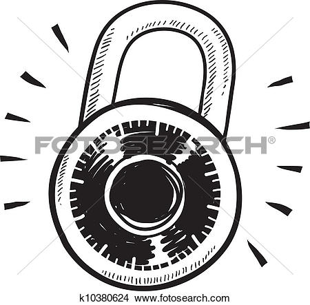 Clipart of Combination lock sketch k10380624.