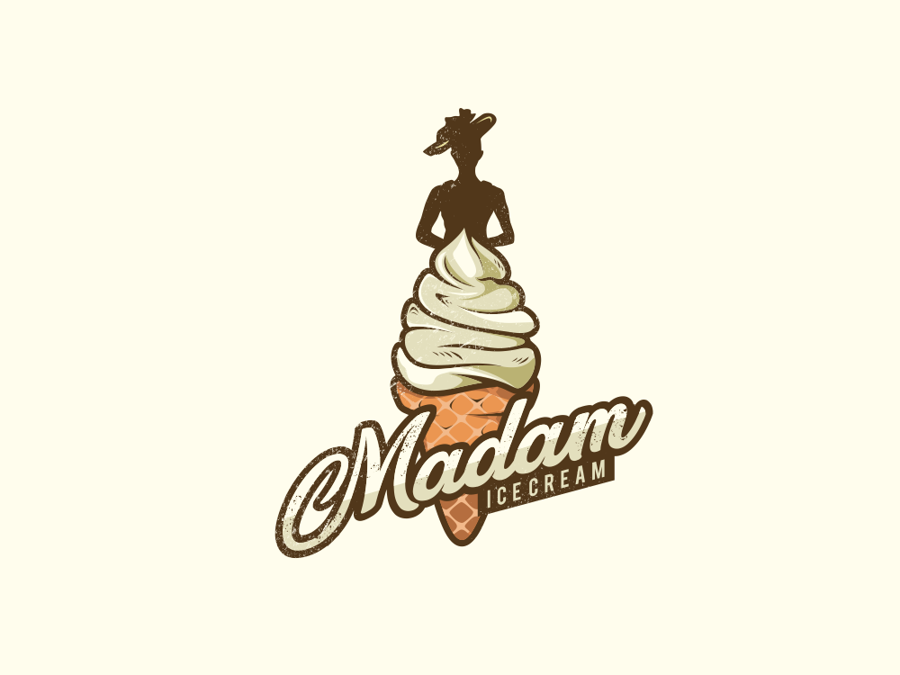 Madam Ice Cream Combination Logo by Garagephic Studio on.