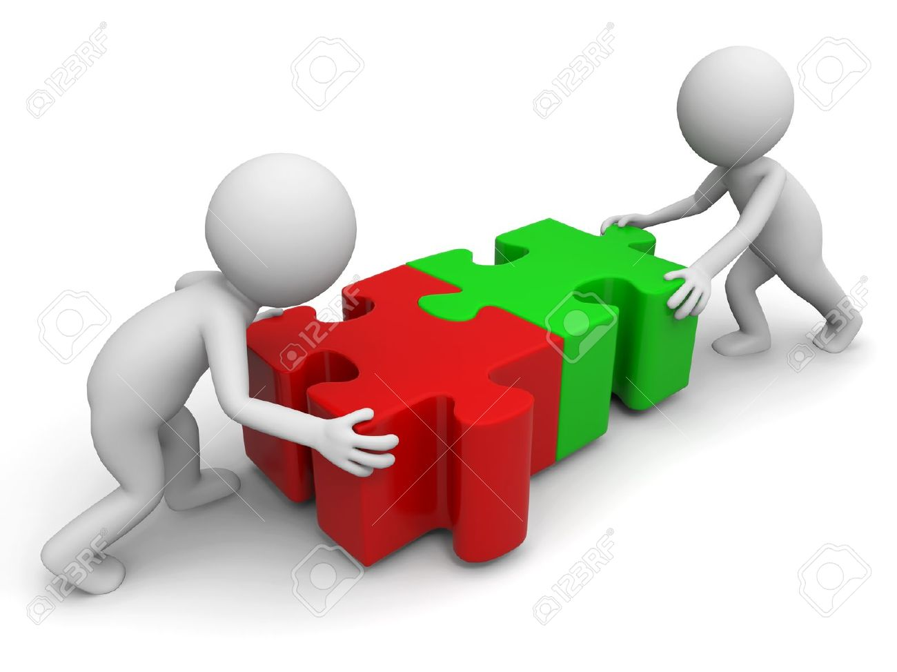 Two 3d People In Combination Puzzles Stock Photo, Picture And.