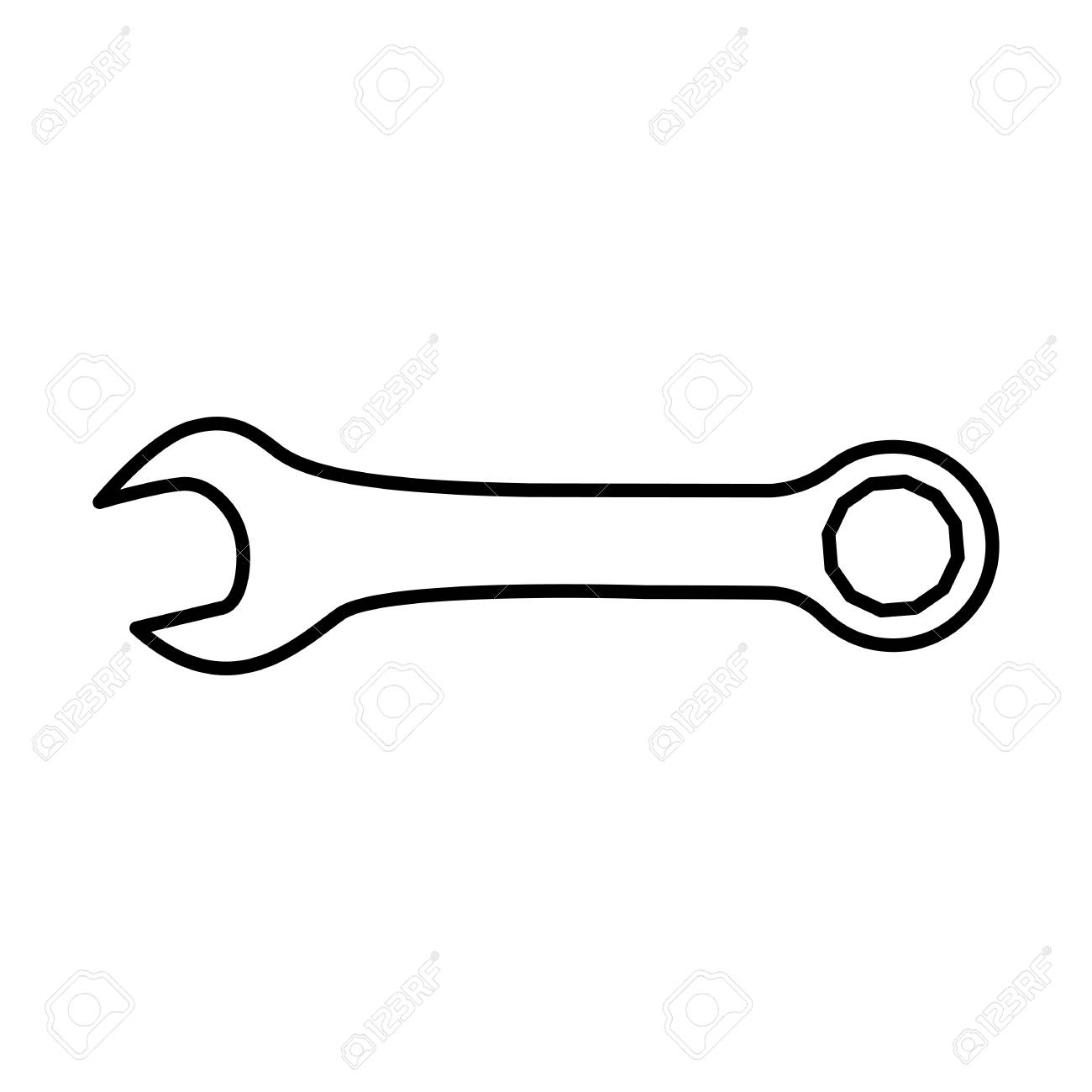 Wrench or spanner icon. Combination wrench with open and ring...