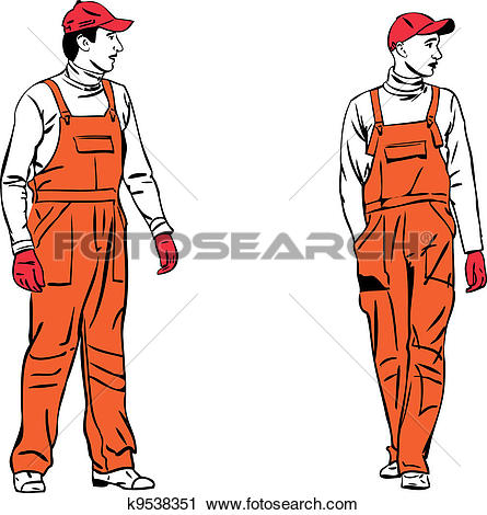 Clipart of sketch two workers in orange combinations k9538351.