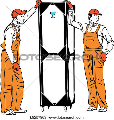 Clipart of two longshoremen in orange combinations hold a box.