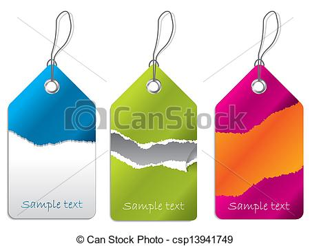 EPS Vector of Label set with rip effect in different color.
