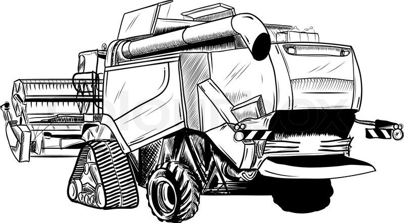 Black sketch of big combine.