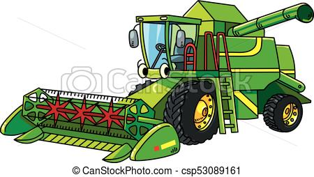 Funny combine harvester with eyes.