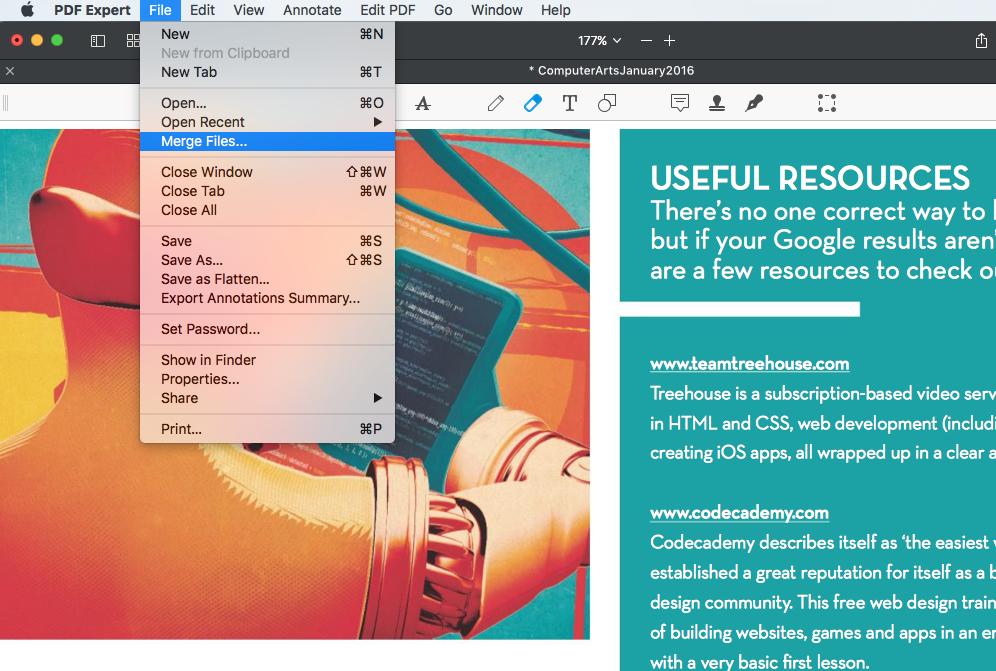 Combine PDF files on Mac.
