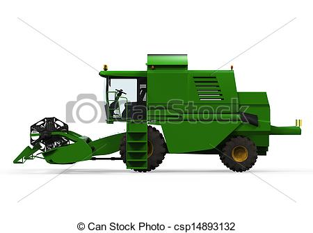 Clip Art of Combine Harvester Isolated.