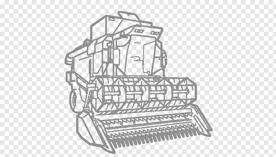 International Harvester Line Art, Combine Harvester.