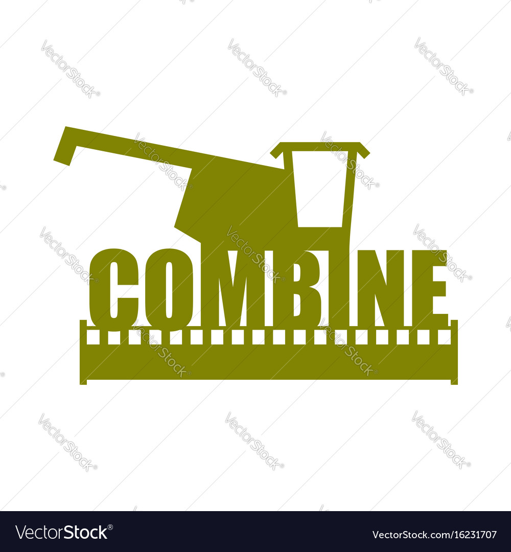 Combine harvester logo sign farm machine for.