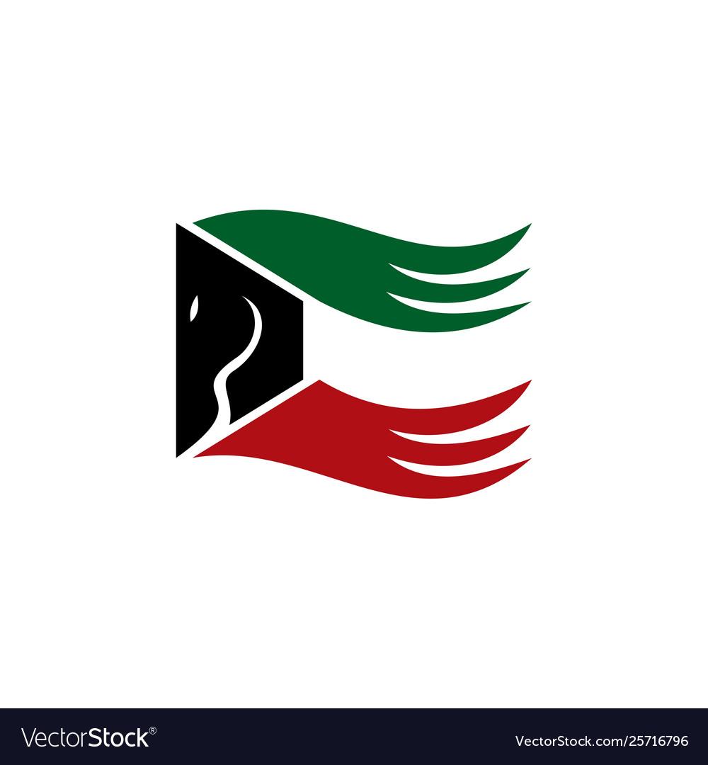 Kuwait horse flag combine logo design.