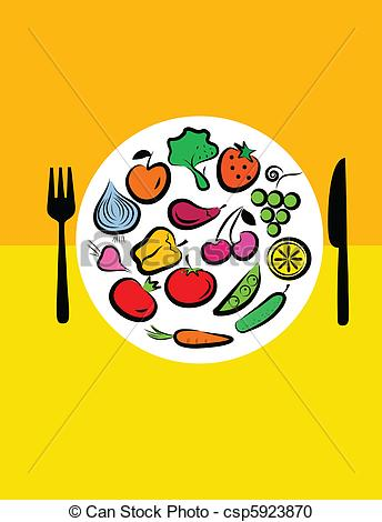 Vector Clip Art of Different fruits and vegetables combined in.