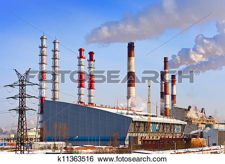 Stock Images of Old and new unit of combined heat and power plant.