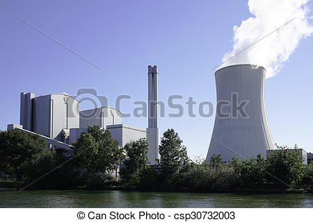 Stock Photography of combined heat and power station.
